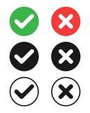 I segni di spunta ed i simboli degli incroci illustrazione di stock