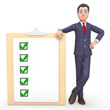 I segni di spunta rappresenta la rappresentazione di Tick Symbol And Agreeing 3d illustrazione di stock