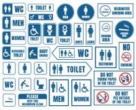 I segni di vettore della toilette hanno messo, autoadesivi del wc della toilette Fotografia Stock