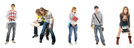 I sei giovani allievi isolati su un bianco Fotografie Stock