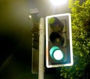 I semafori si avvicinano ad una lampada luminosa alla notte Fotografia Stock Libera da Diritti