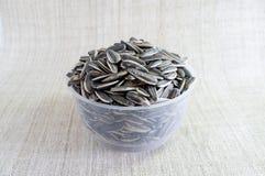 I semi di girasole dentro vedono attraverso la tazza, su tela Fotografia Stock Libera da Diritti
