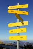 I sensi e le distanze firmano dentro le alpi austriache Immagini Stock Libere da Diritti