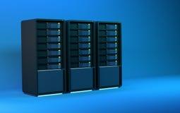 i server 3d rendono il blu Fotografie Stock