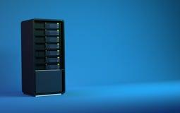 i server 3d rendono il blu nero Fotografie Stock Libere da Diritti