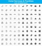 I servizi degli esercizi alberghieri e le facilità allineano ed icone solide messe, profilo Fotografie Stock
