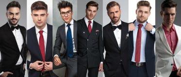 I sette ritratti degli uomini casuali differenti immagine stock