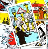 I sette VII della carta di tarocchi delle tazze illustrazione vettoriale