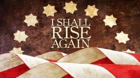 I shall rise again. From Latin Resurgam. Usa Flag stock photo