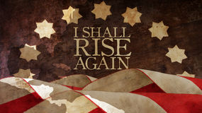 I shall rise again. From Latin Resurgam. Usa Flag and Chart Stock Images