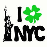 I Shamrock Love New York City. Nice design of the statue of liberty, featuring what is supposed to read I Love NYC (New York City) with a heart inside the green Stock Images