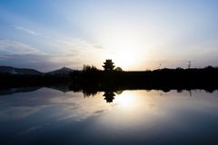 SUNSET IN XIANGYANG FROM AL royalty free stock images