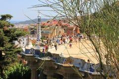 I sightseeings della città di Barcellona, Spagna Auna del ¼ di Parc GÃ dell'architetto di Gaudi Fotografie Stock Libere da Diritti