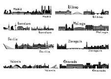 I signts della siluetta di 8 città della Spagna Immagine Stock