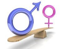 I simboli del maschio e della femmina sono pesati sulle scale illustrazione di stock