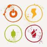 I simboli dell'acquerello con spruzza e schizza tutt'intorno Fotografie Stock