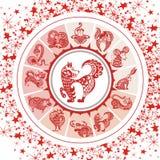 I simboli dell'astrologia e mistico firma dentro i colori rossi Immagini Stock