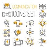 I simboli di comunicazione del contatto della rete di web di Internet di media descrivono l'illustrazione di vettore delle icone Immagine Stock