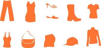 I simboli di modo e di modo come il pattino della camicia vestono il sacchetto Fotografia Stock