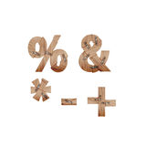 I simboli fatti delle barre di legno si sono collegati con i piatti di metallo Fotografia Stock Libera da Diritti