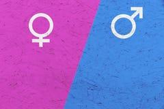 I simboli maschii e femminili Marte di genere ed il Venere cede firmando un documento il fondo rosa e blu Immagine Stock Libera da Diritti