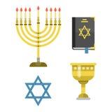 I simboli tradizionali della chiesa di giudaismo hanno isolato l'illustrazione ebraica di vettore dell'ebreo di pesach religioso  Immagine Stock Libera da Diritti