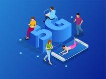 I sistemi senza fili e Internet della rete isometrica 5G vector l'illustrazione Rete di comunicazione, concetto di affari illustrazione di stock