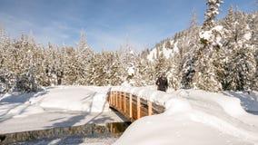 I am skiing across Little Redfish creek Stock Photos