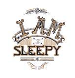 I am sleepy typograhy design hand drawing, tiring and insomnia c Royalty Free Stock Photos