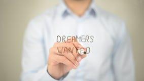 I sognatori hanno voluto, scrittura dell'uomo sullo schermo trasparente Immagine Stock Libera da Diritti