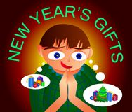 I sogni del ragazzo dei regali del ` s del nuovo anno Fotografie Stock Libere da Diritti