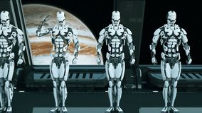 I soldati dei robot su un'astronave salutano contro lo sfondo dell'universo e dei pianeti Un concetto futuristico di un UFO illustrazione di stock