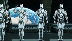 I soldati dei robot su un'astronave salutano contro lo sfondo dell'universo e dei pianeti Un concetto futuristico di un UFO royalty illustrazione gratis