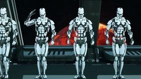 I soldati dei robot su un'astronave salutano contro lo sfondo dell'universo e dei pianeti Un concetto futuristico di un UFO illustrazione vettoriale
