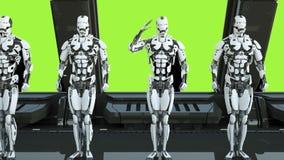I soldati dei robot su un'astronave salutano contro lo sfondo dello schermo verde Un concetto futuristico di un UFO 3d illustrazione di stock