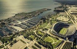 I soldati di Chicago hanno archivato la vista aerea dello stadio Fotografie Stock Libere da Diritti