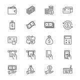 I soldi assottigliano le icone Fotografia Stock Libera da Diritti