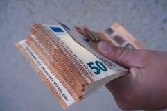 i soldi da 50 euro Fotografie Stock