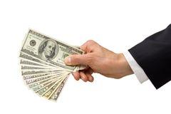 I soldi di mano danno la donazione di affari Fotografia Stock