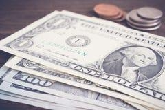 I soldi di valuta coniano il dollaro americano, stile d'annata Immagini Stock Libere da Diritti