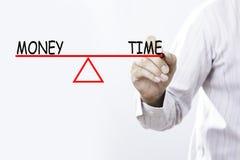 I soldi ed il tempo del disegno della mano dell'uomo d'affari equilibrano - il conce di affari Fotografia Stock Libera da Diritti