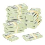 I soldi impilano il vettore Concetto realistico banconote del dollaro 3D Simbolo dei contanti Soldi Bill Isolated Illustration Immagini Stock Libere da Diritti