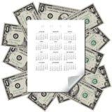 I soldi incorniciano questo calendario 2019 Immagini Stock