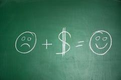I soldi lo rendono felice Immagine Stock Libera da Diritti