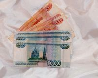 I soldi russi di 5000 e 1000 rubli Fotografie Stock Libere da Diritti