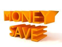I soldi salvano il segno 3d arancione Fotografie Stock Libere da Diritti