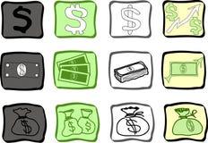 I soldi scarabocchiano le icone Fotografia Stock