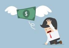 I soldi stanno volando a partire dall'uomo d'affari di tristezza Fotografia Stock