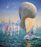 Artwork. Inflated sail on a yacht. Author: Nikolay Sivenkov. I sometimes participate in sailing regattas. The spectacle and great sporting excitement make me Stock Image