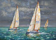 Regatta. Yachts coming to the finish. Author: Nikolay Sivenkov. I sometimes participate in sailing regattas. The spectacle and great sporting excitement make me Royalty Free Stock Images
